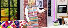 Renkli Kolsuz Süveter Elbise