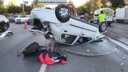 Makas attığı iddia edilen otomobil takla attı